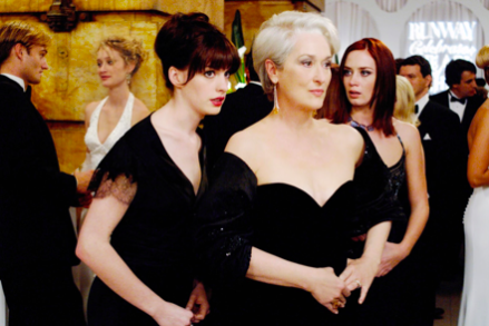 Anne Hathaway, Meryl Streep, and Emily Blunt in  The Devil Wears Prada