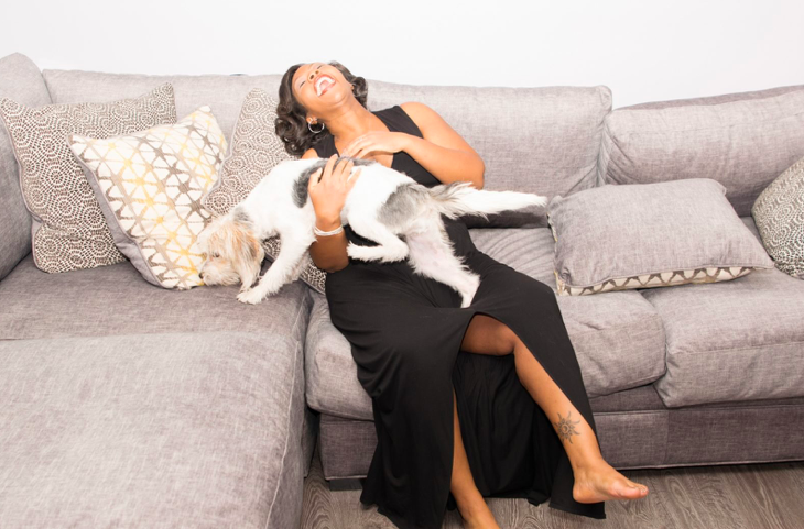 """""""No words have been created to adequately capture the fear and love and excitement that I feel right now,"""" Shalon, shown here with her puppy Lady Day, wrote to her daughter.(Courtesy of Wanda Irving)"""