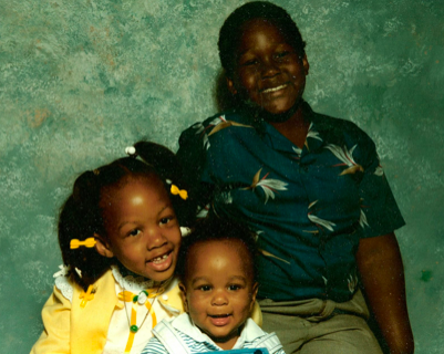 Shalon, her baby brother Simone and her older brother Sam III, in a photo taken in the mid-1980s (Courtesy of Wanda Irving)