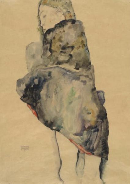 Egon Schiele,  Standing Girl Wrapped in Blanket , 1911