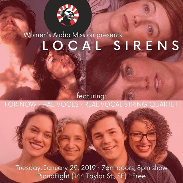We're playing this showcase in just a few days and hoping to see you there Bay Area! the show is free so you can spend all your $ on 🍱🍔🌮🍕 + 🥃🍸🍺🍷 #Repost @womensaudiomission ・・・ Have you RSVP'd for Local Sirens yet? It's less than one week away! Come out to @pianofightsf this coming Tuesday 1/29 to hear #realvocalstringquartet, @haevoces & @fornowlife, all for #FREE. We are so lucky to have these amazing local talents! RSVP here: https://buff.ly/2F4HdAz. #WAMLocalSirens #ChangingTheFaceOfSound