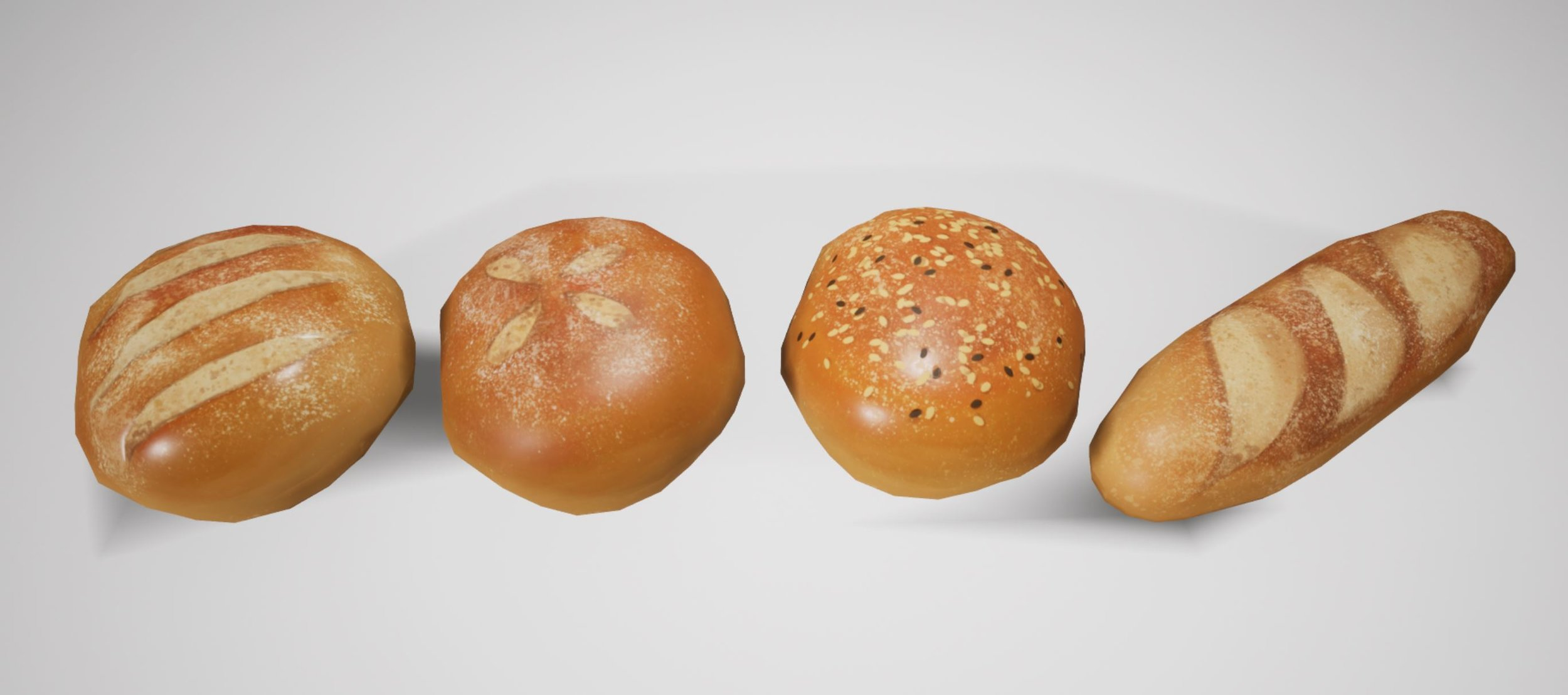 Low Poly hand painted breads  Used: Photoshop, Maya, and UE4
