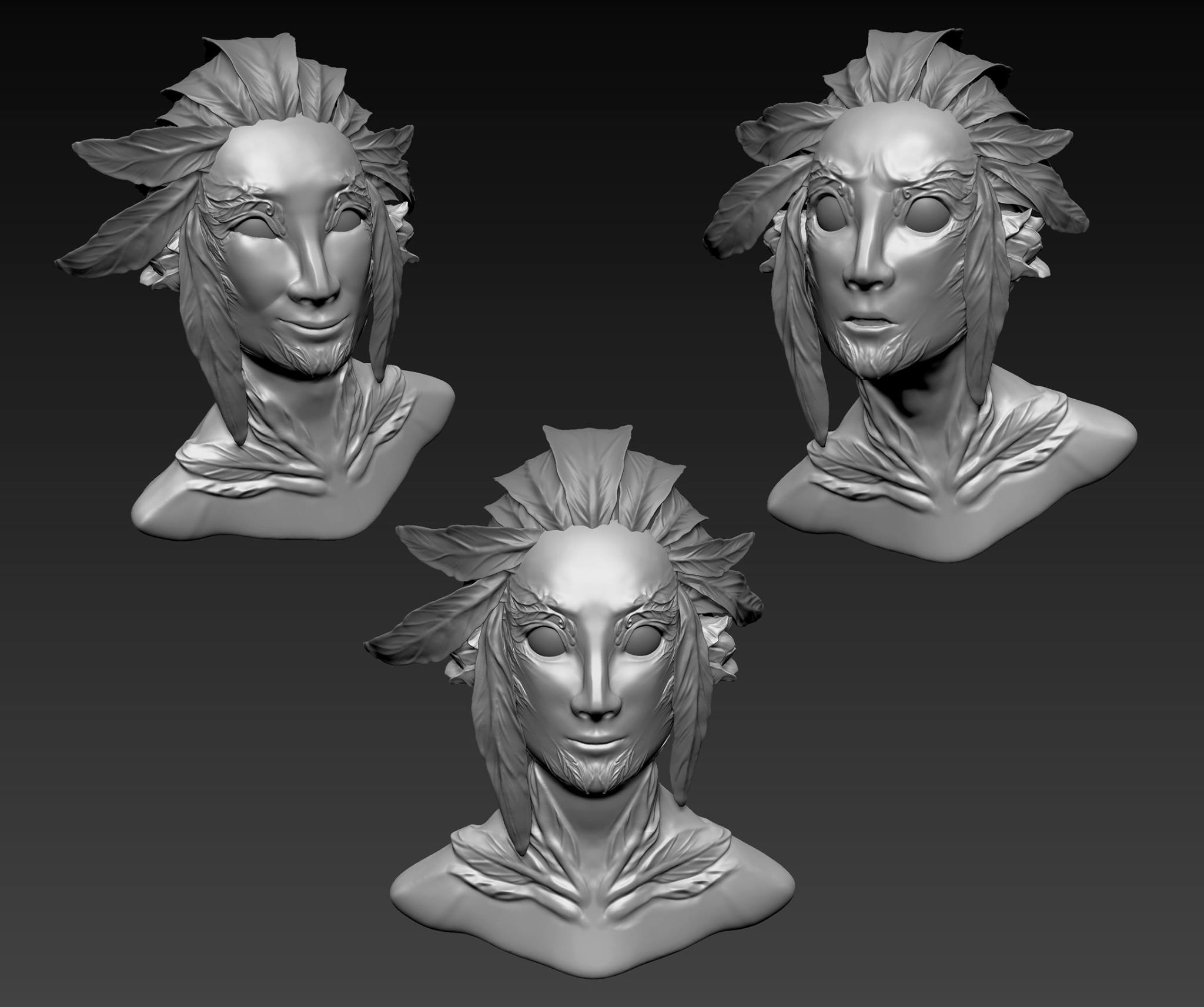 Character bust of Guild Wars 2 video game character  Used: Zbrush