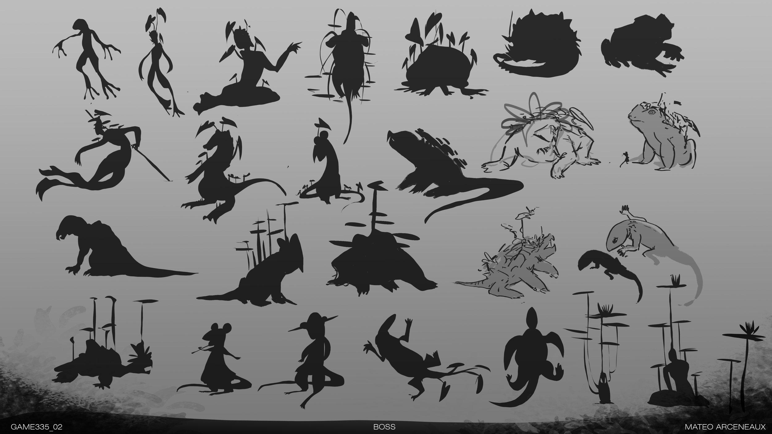 Silouette studies for Boss Creature Concept
