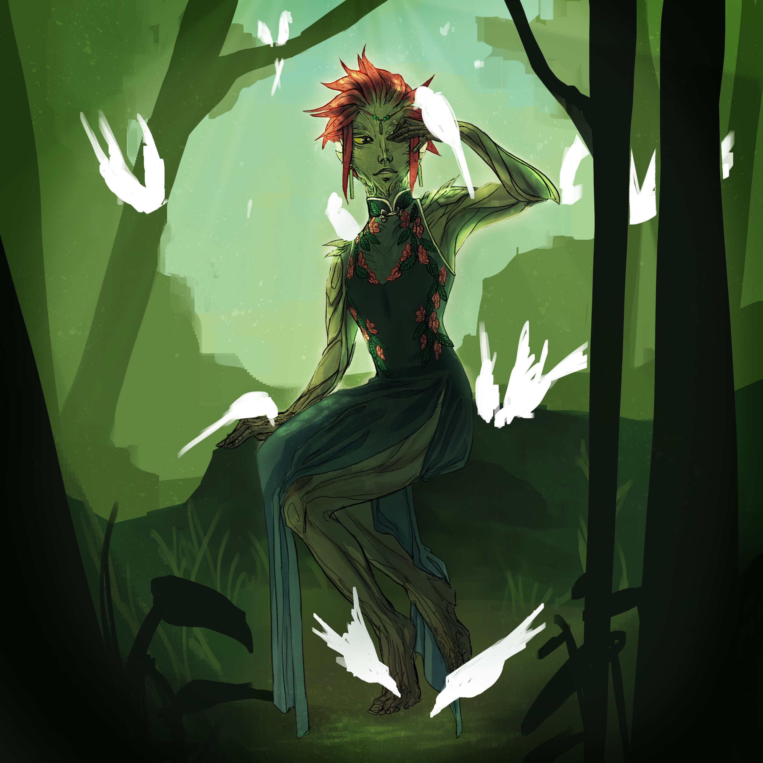 Photoshop drawing of Guild Wars 2 video game character