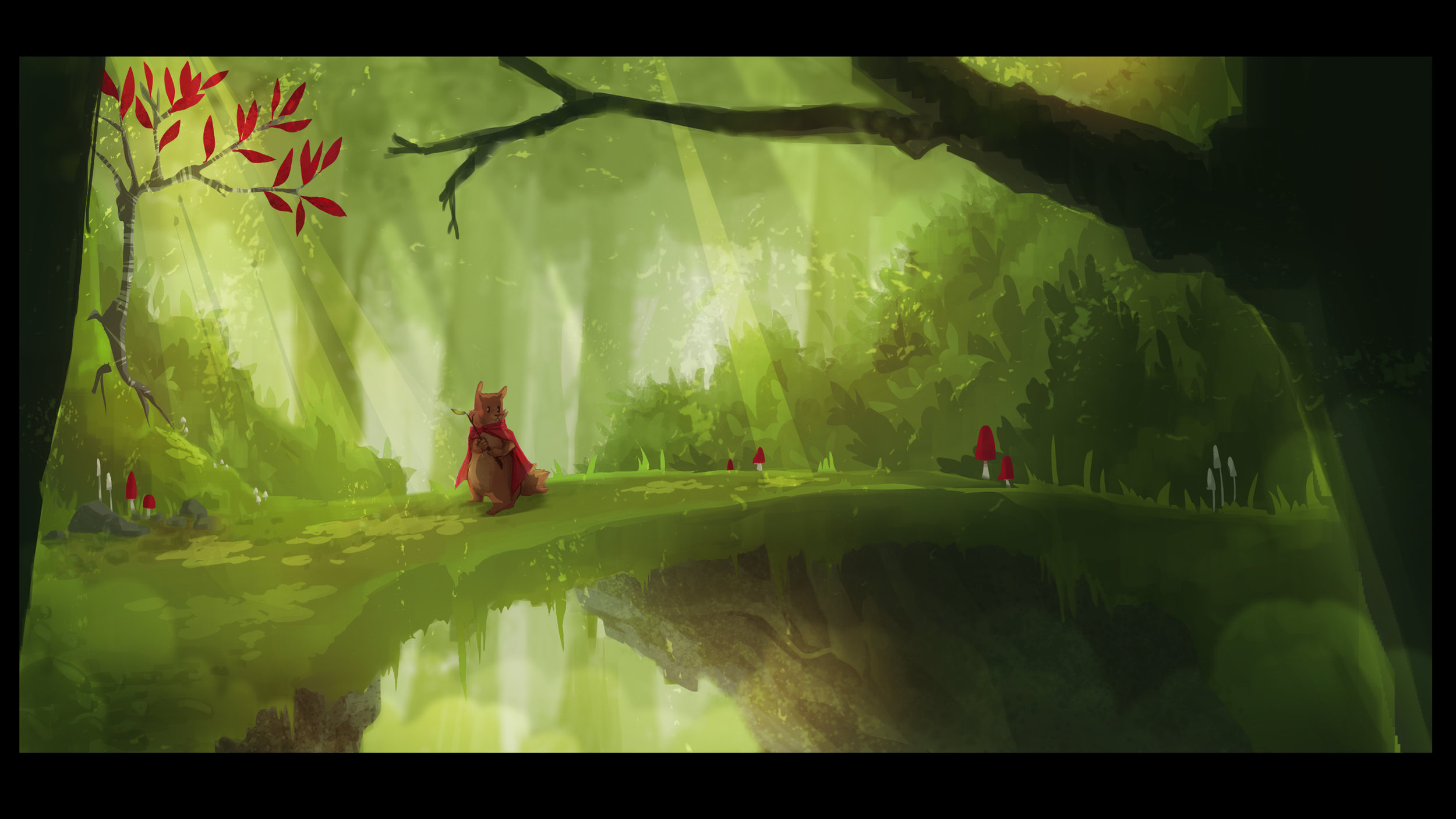 Environment mood painting for thesis project. Programs: Photoshop