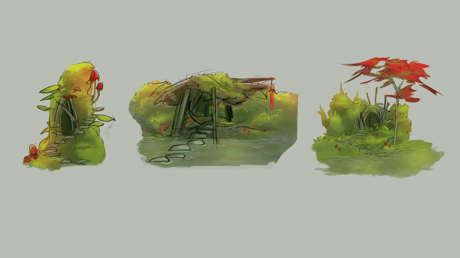 Environment and color exploration for thesis project. Programs: Photoshop