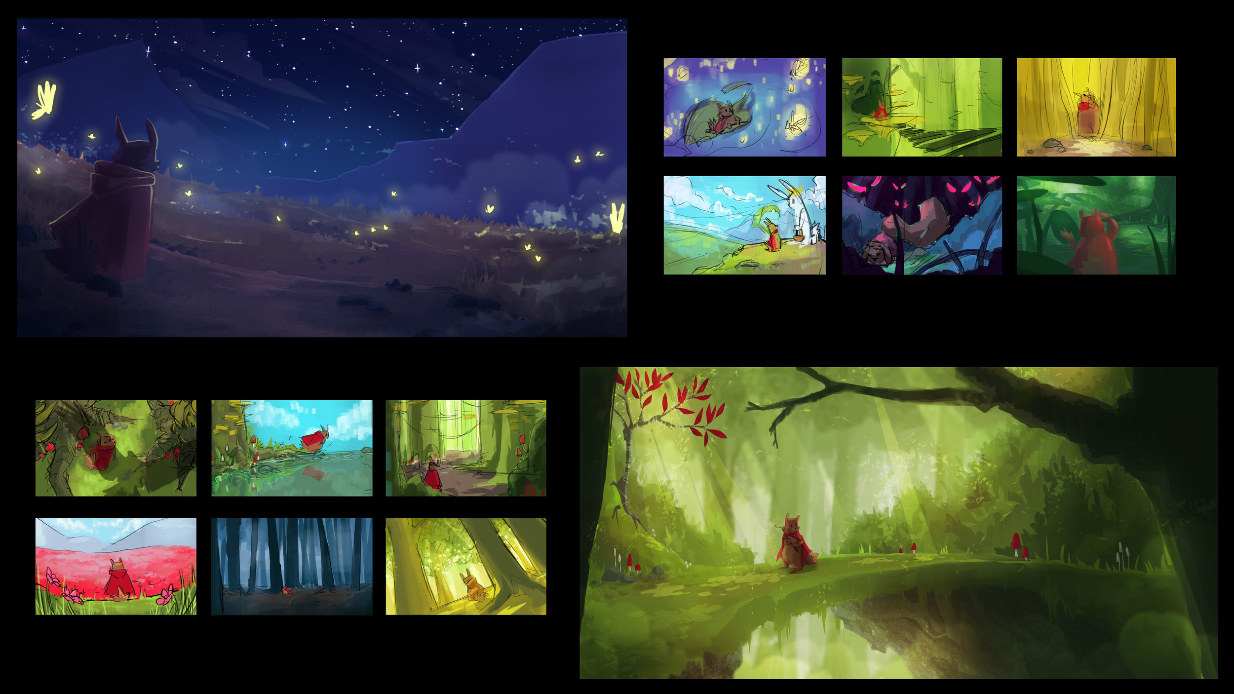 Color keys and environment paintings for thesis project. Programs: Photoshop