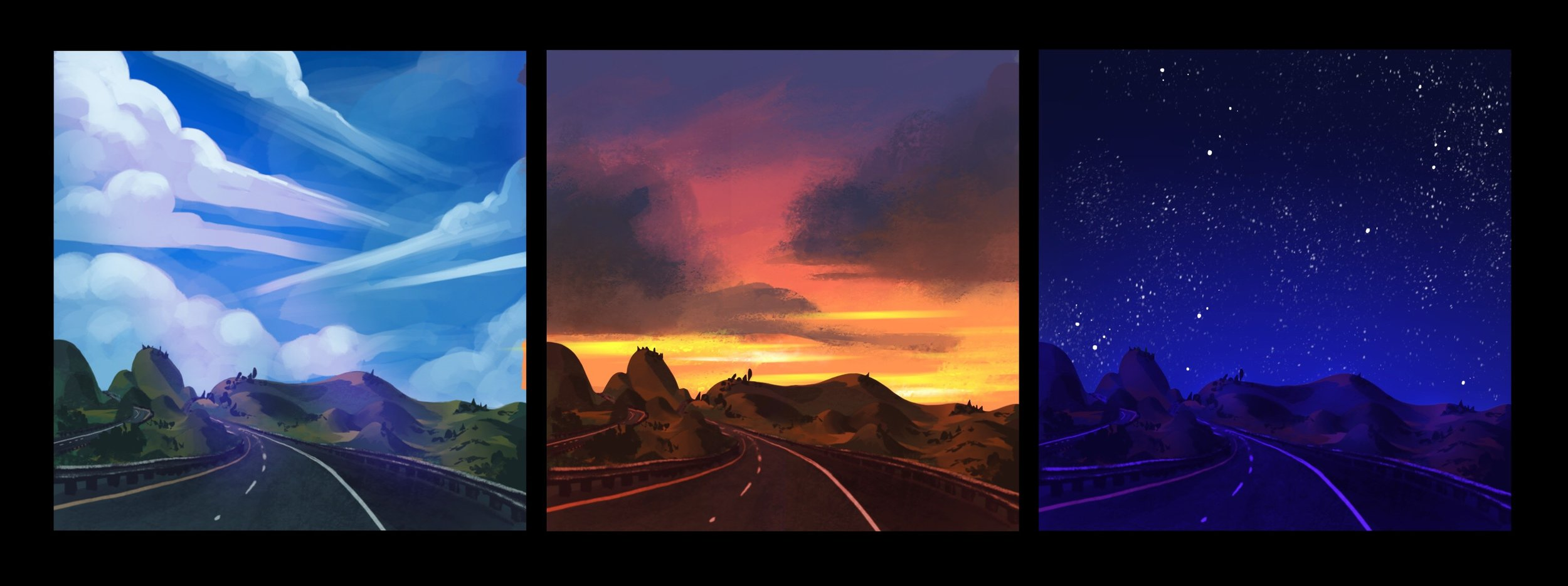 Lighting study from photograph taken on road trip. Programs: Procreate, Photoshop