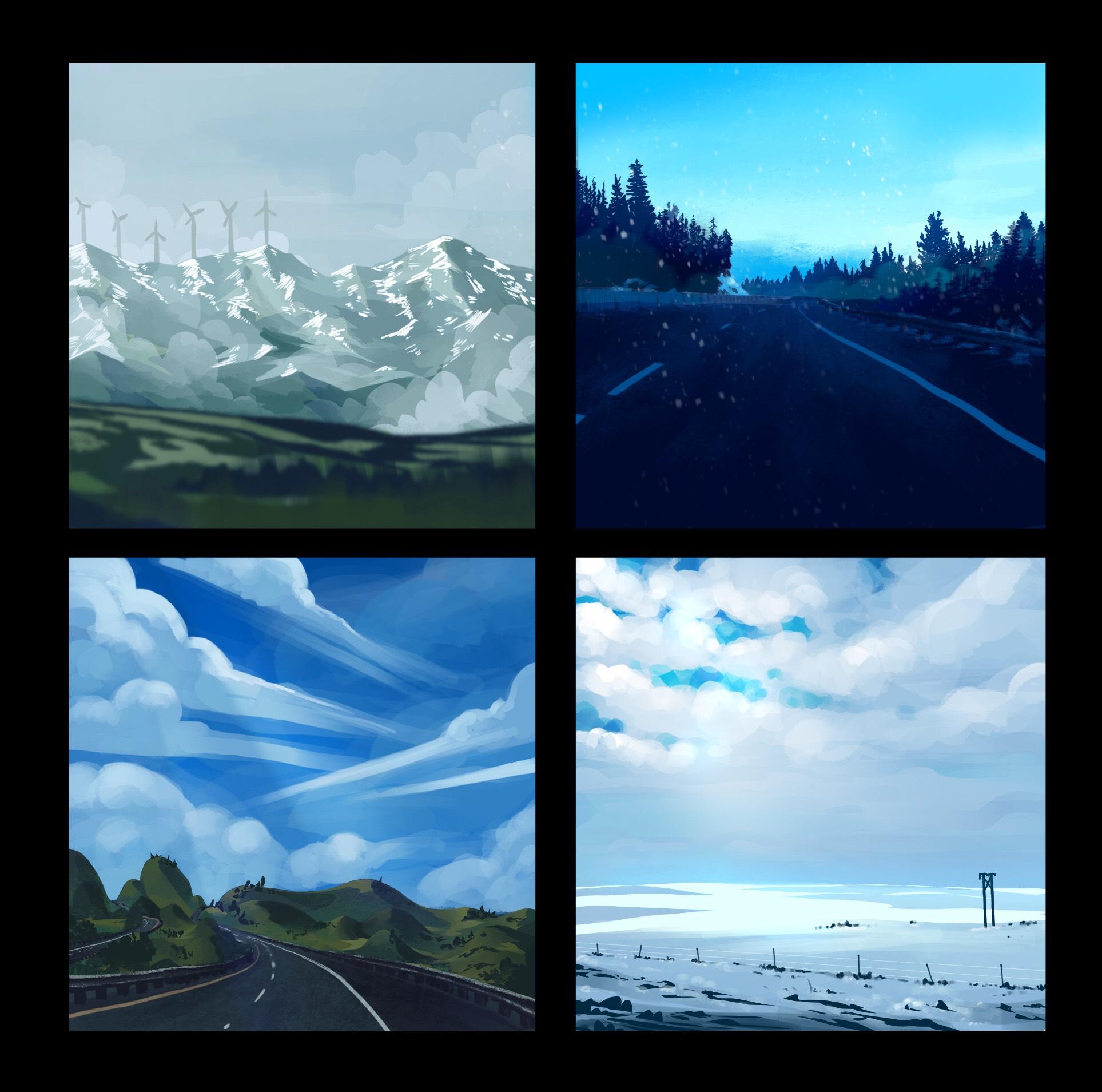 Studies based of photos taken on road trip. Programs: Procreate, Photoshop