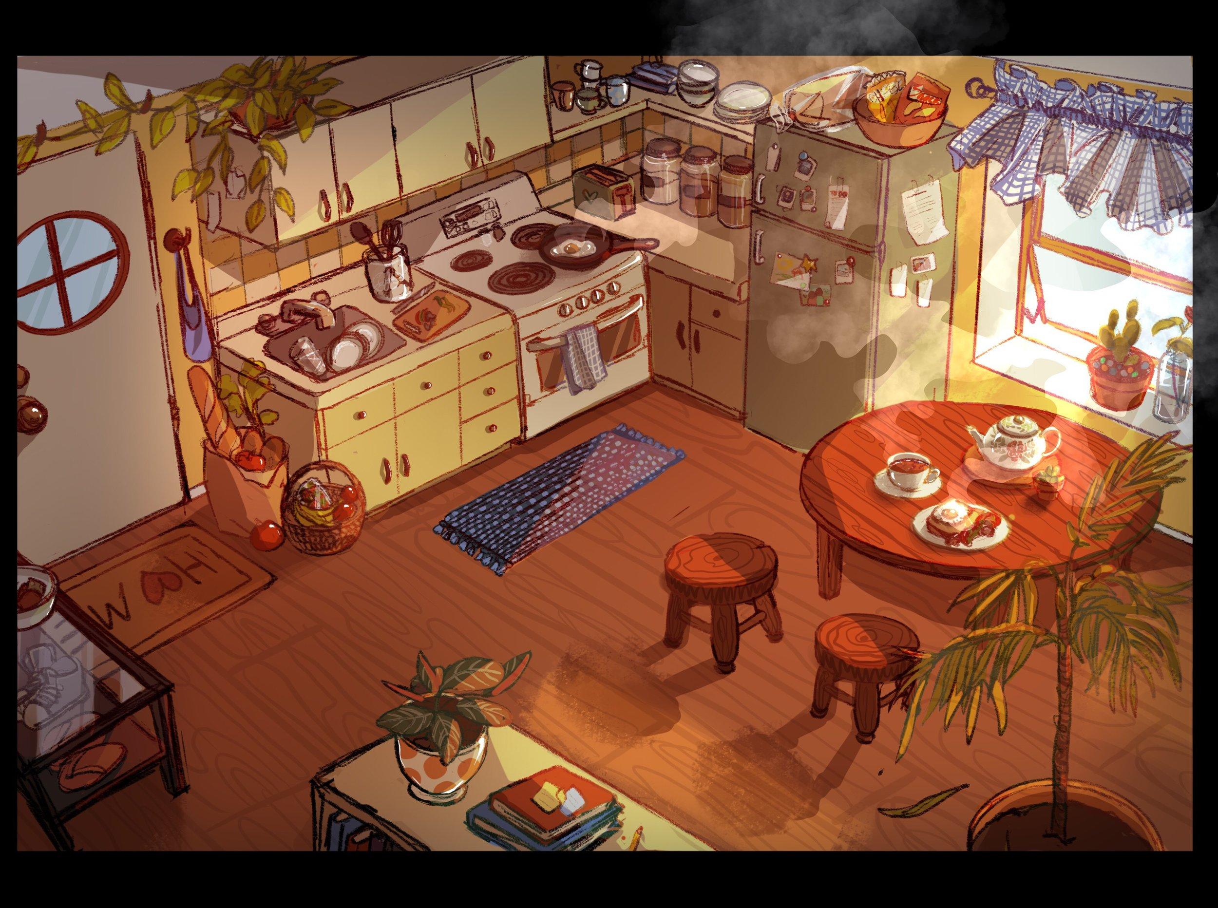 """Animal Crossing"" inspired interior. Programs: Procreate, Photoshop"