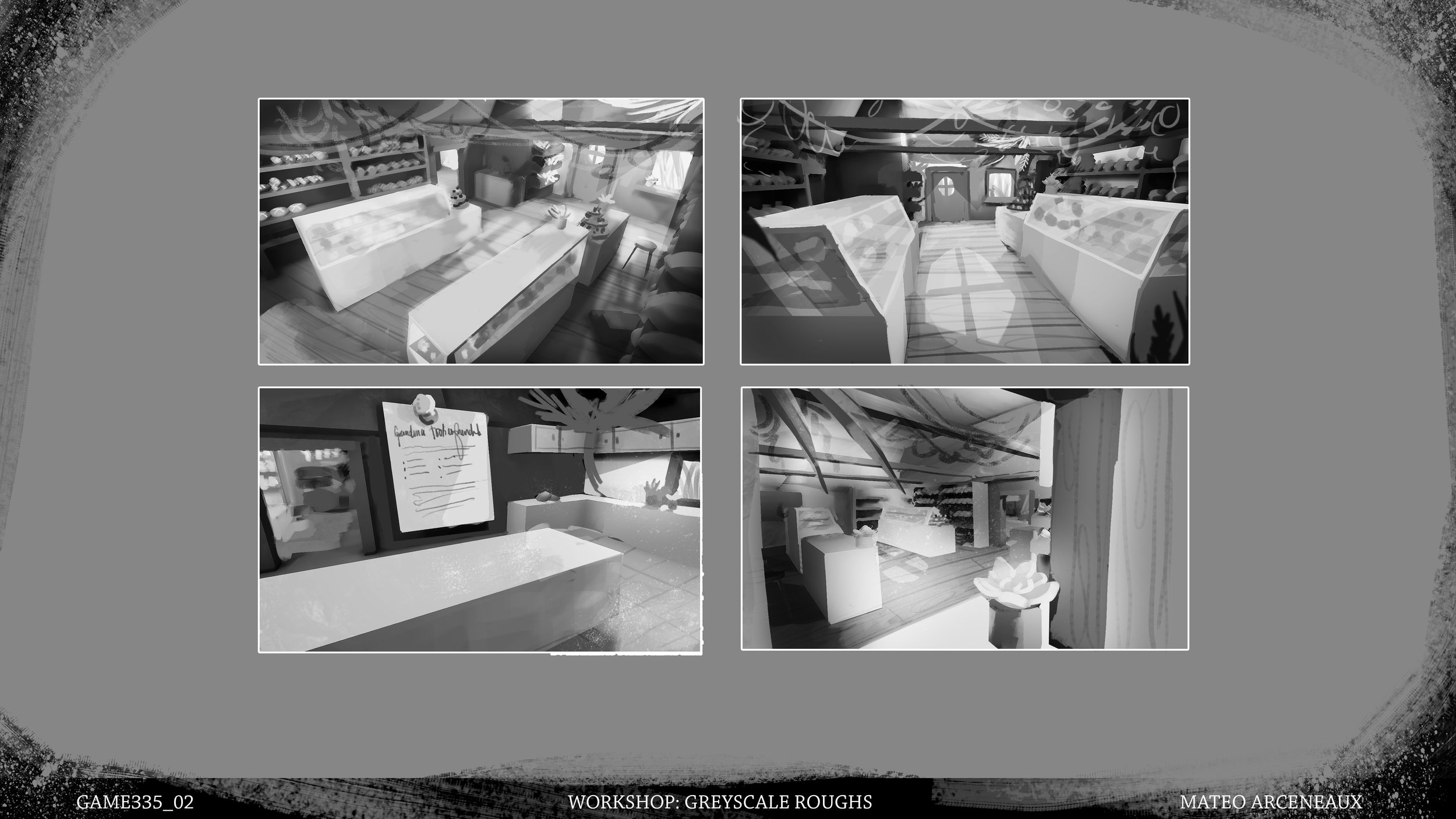 Grayscale roughs for previous environment painting. Programs: Unreal Engine 4, Photoshop