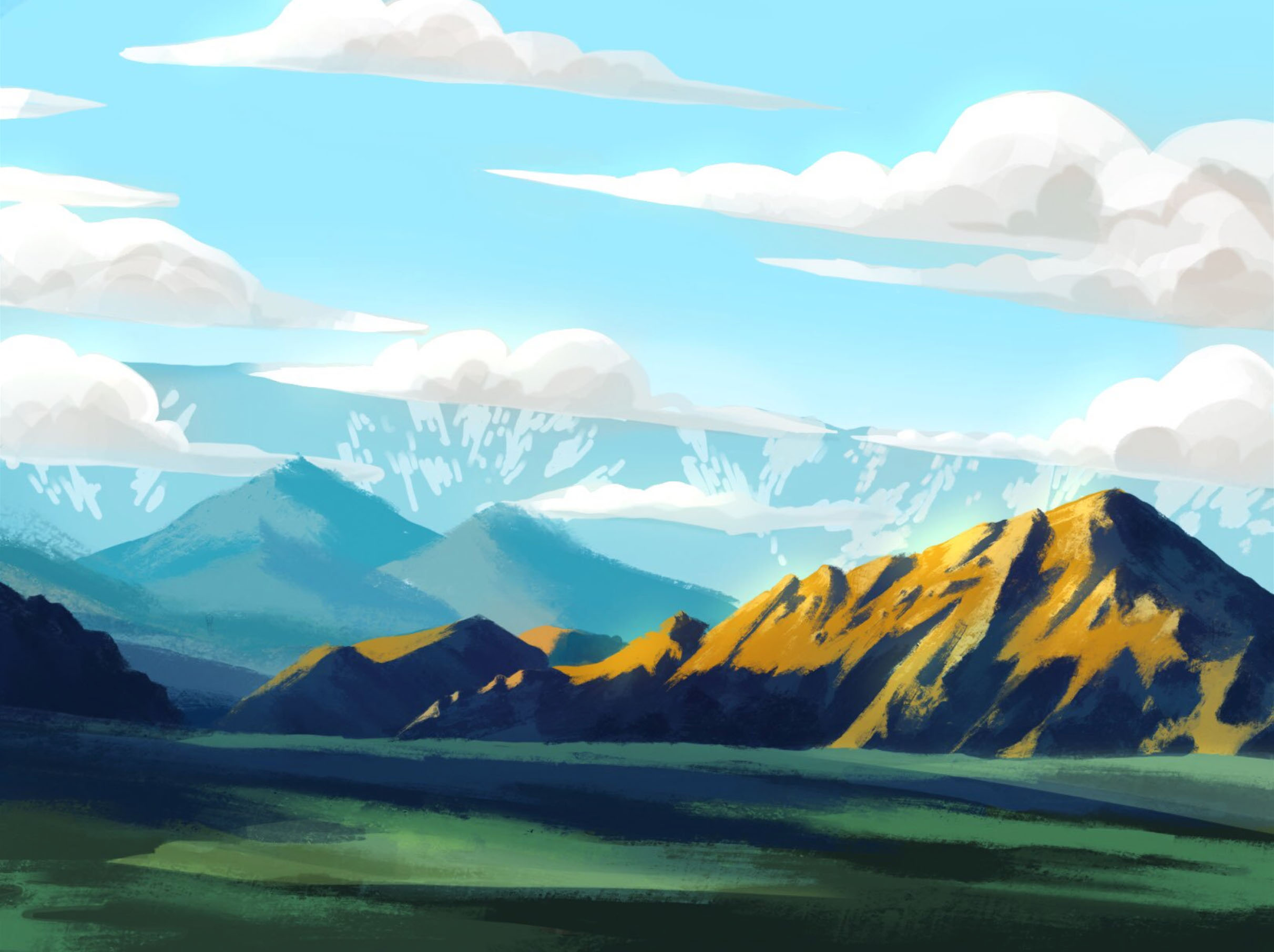 Study of a photo taken on a cross country road trip. Programs: Procreate, Photoshop