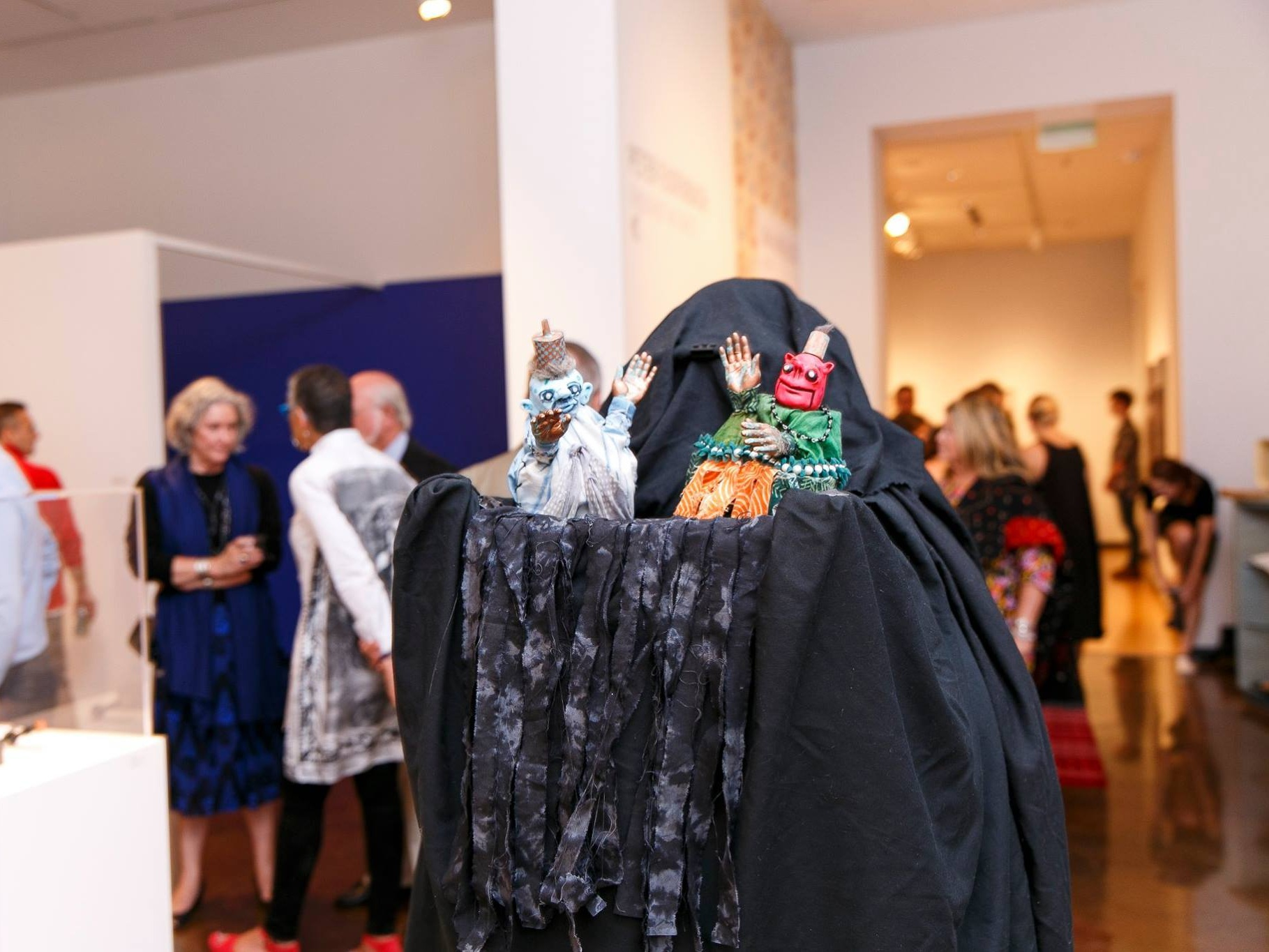 The Moon Kings at The Halsey Gallery's annual Moon Party, Charleston, SC. 2016 - Part of the Charleston Guild of Puppeteers entertaining guests at a fundraising event. This walkabout hand puppet stage is inspired by an antique Chinese street performer design.