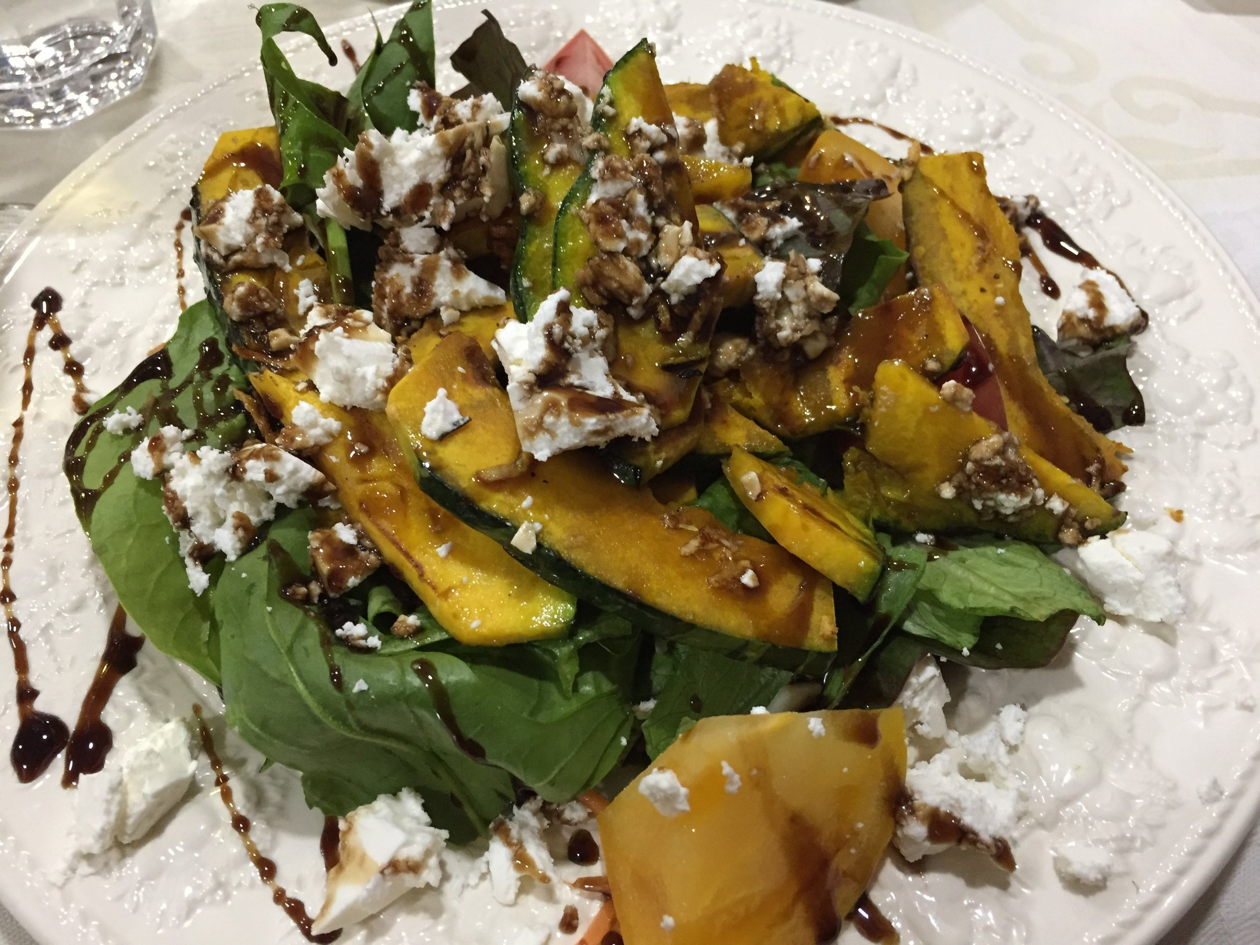 Pumpkin Salad from Farm to Table Restaurant in Sakhalin, Russia (The Black Cat)