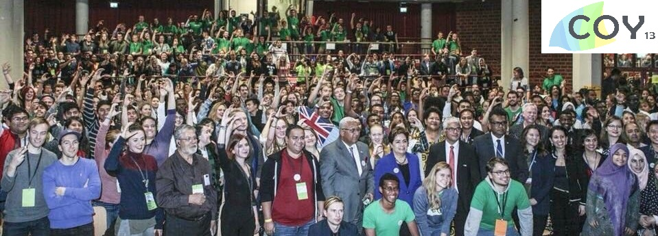 COY13 Stands in Solidarity for Climate Action with Fiji PM & COP23 President Frank Bainamamara, Exec. Secretary Patricia Espinosa, and UNFCCC Focal Point on Education & Youth, Adriana Valenzuela.