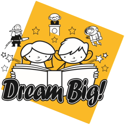 Dream Big - drawing of two children reading a book