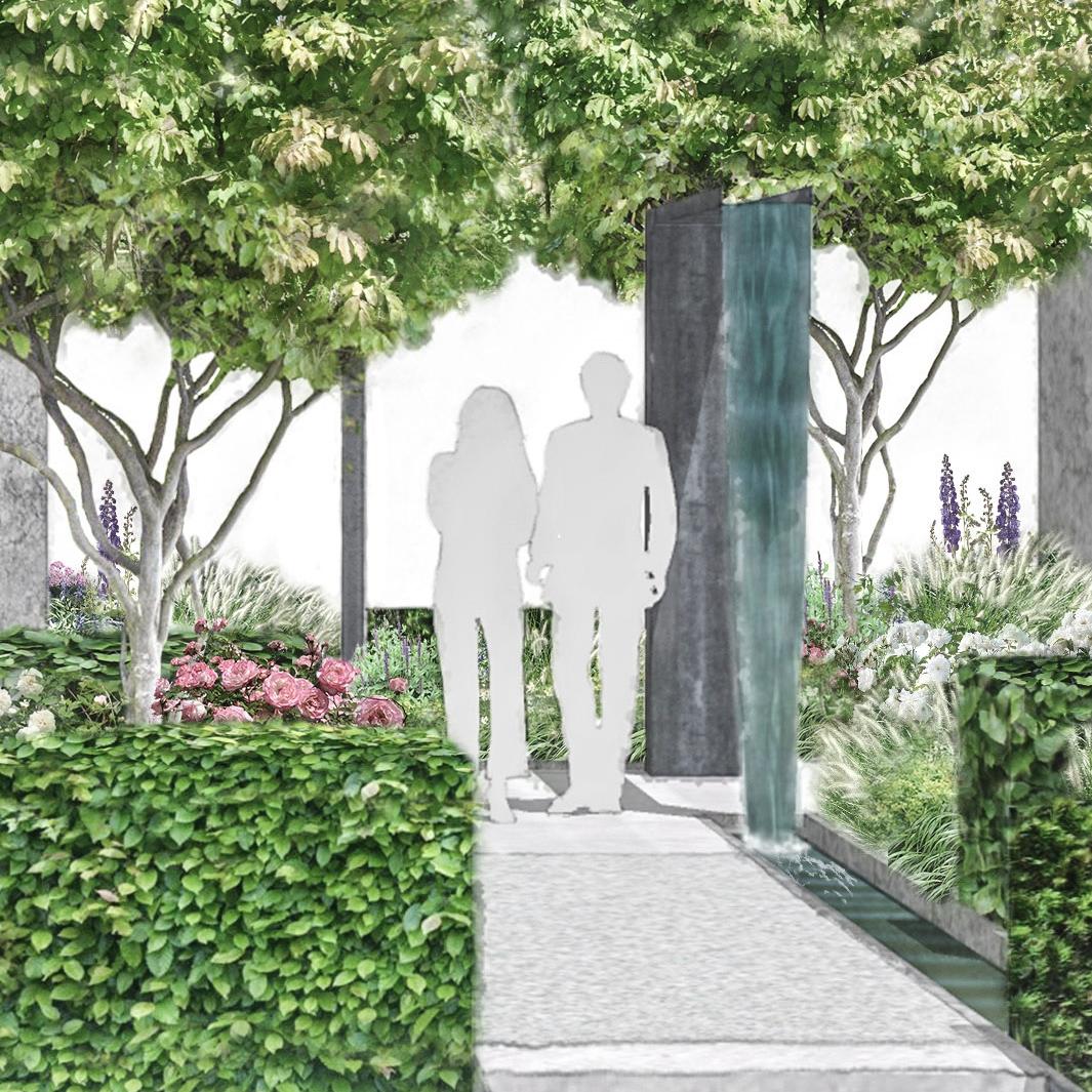 contemporary rose garden and fountain.jpg