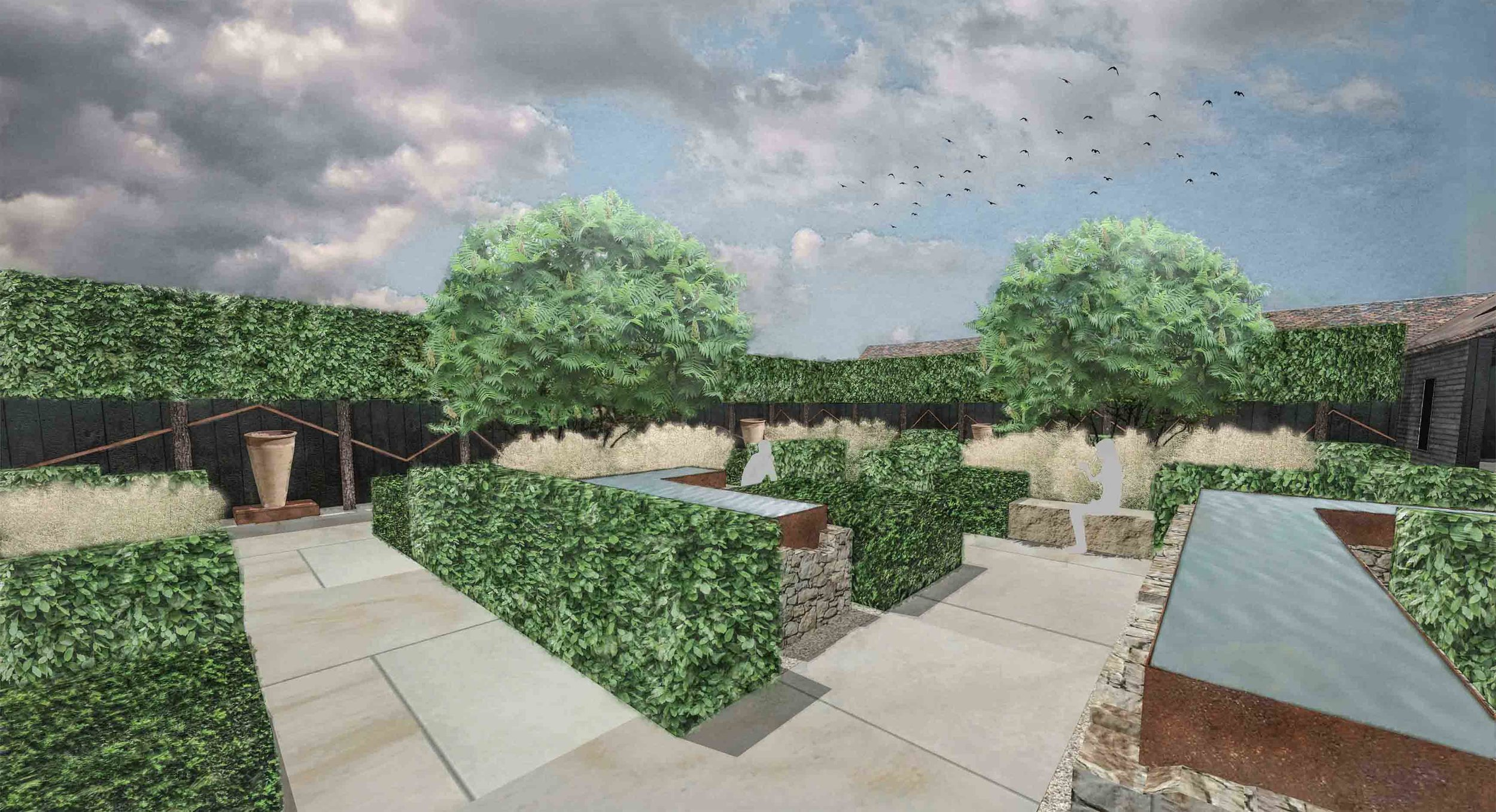 sandstone corten water features pleached trees modern courtyard.jpg