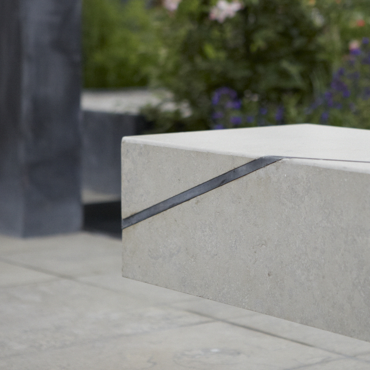 Colm Joseph RHS Chelsea limestone cantilevered seat steel inlay detail garden design.jpg
