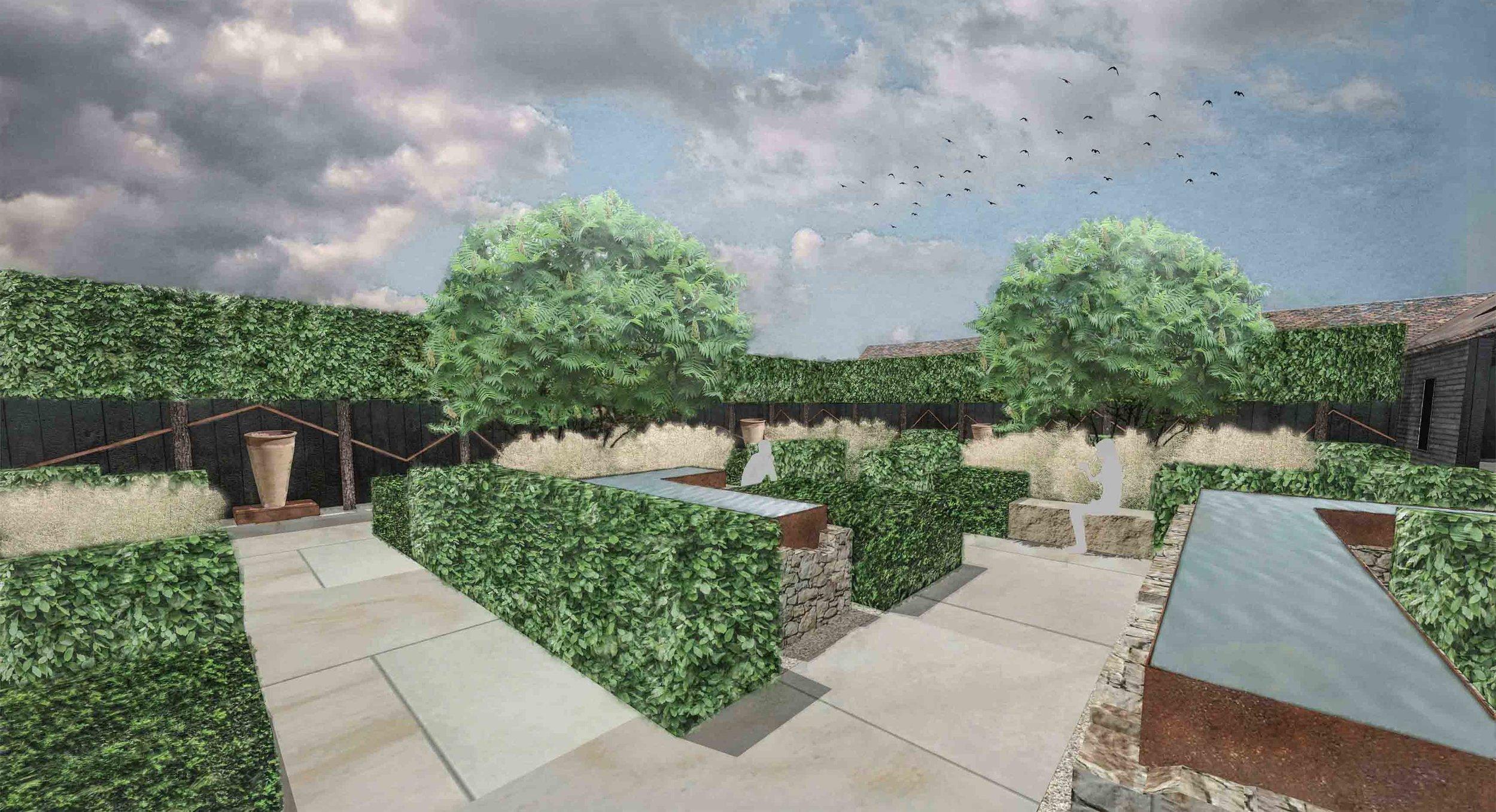 sandstone corten water features pleached trees modern courtyard.jpg