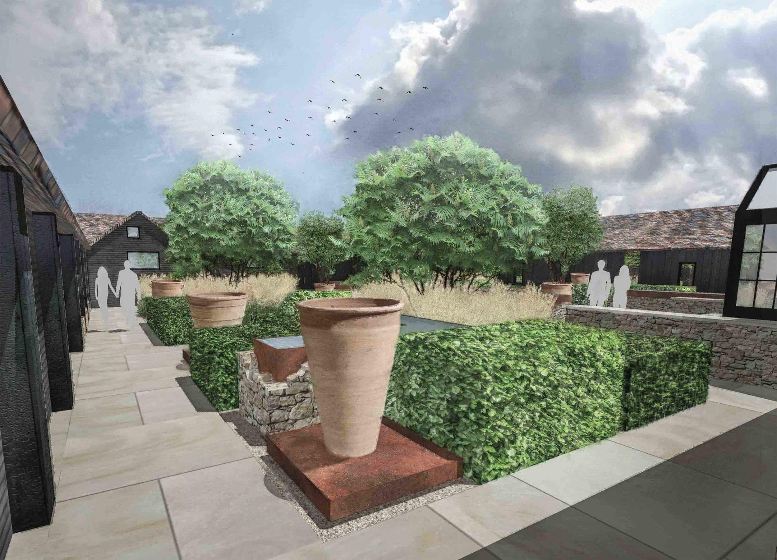 modern courtyard garden multi stem trees ornamental grass hedging.jpg
