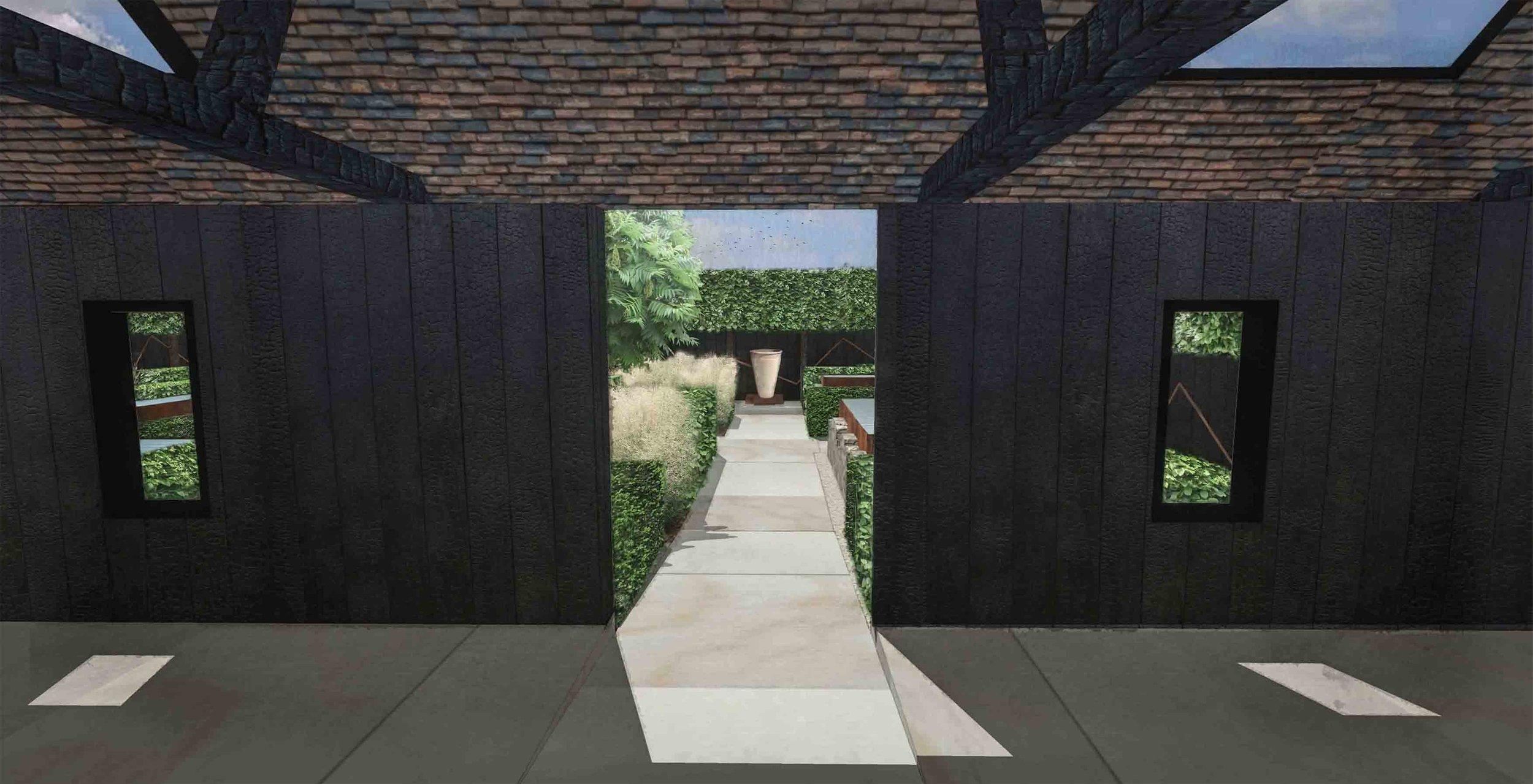 modern barns garden charred oak sandstone paving.jpg