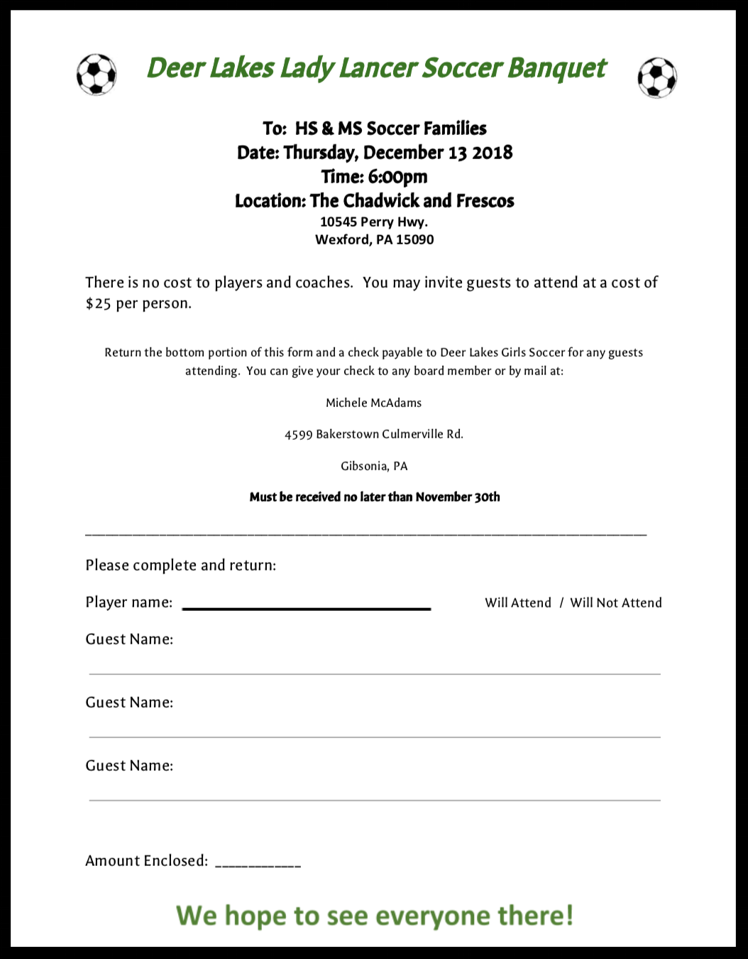 Banquet - Join us for a fun night celebrating our Lady Lancer soccer teams!