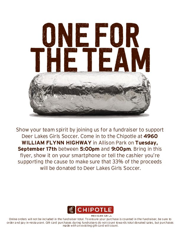 Chipotle - Help support the DL Lady Lancers Soccer team!