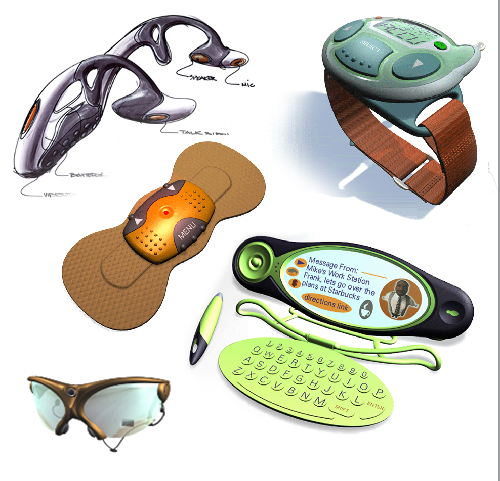Wearable Technologies - Consumer and medical wearable tech + wearable surveillance and covert communication equipment for US and foreign governments (not shown). Defense concepts remain confidential.