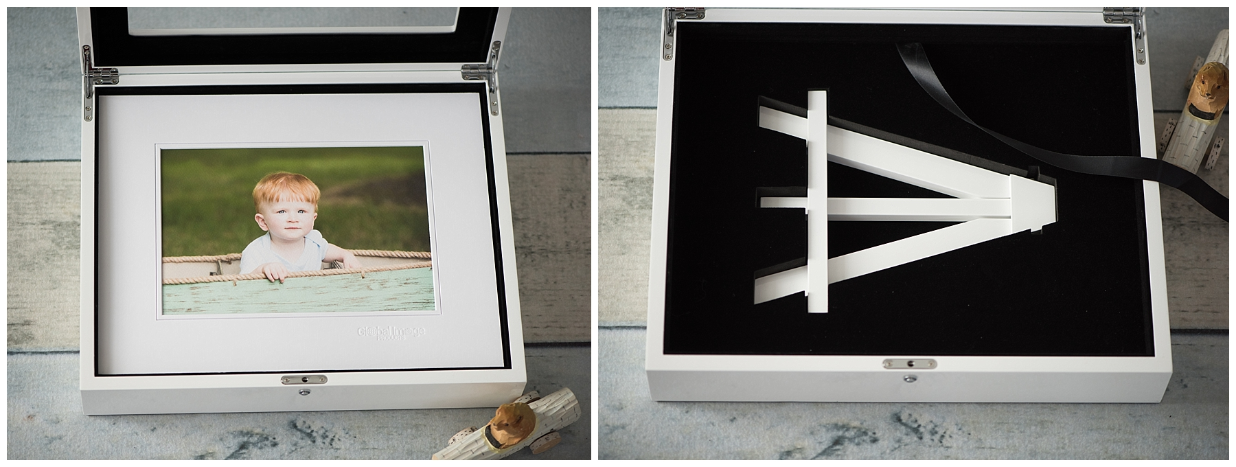 Matted or mounted, fine art prints look amazing on our optional coordinating easel. The easel may be stored under prints, when not in use. Folio boxes are available in sizes 8x10 or 11x14 and come in your choice of white, black or natural wood.
