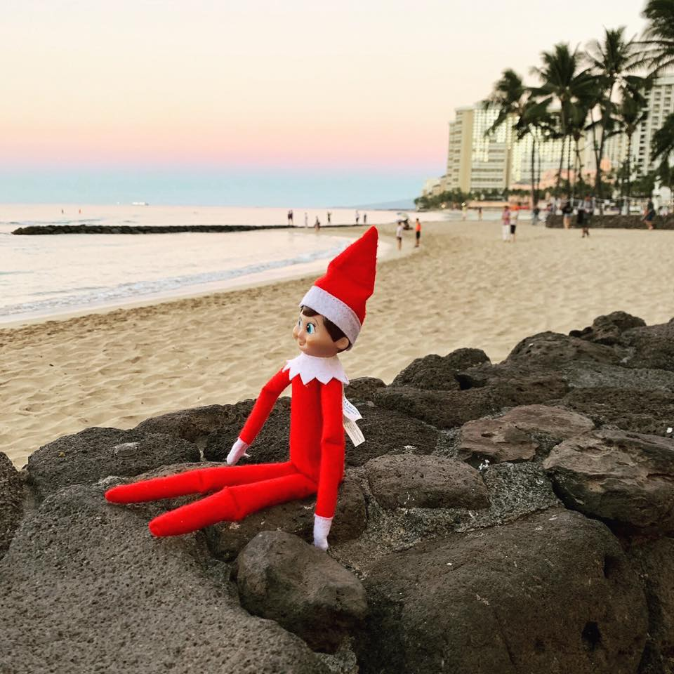 Ray, our Elf on the Shelf, enjoying the sun on Waikiki Beach