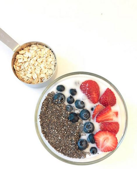 Berry Overnight Oats - 1/2 cup rolled oats1/2 cup unsweetened coconut milk1/2 cup plain greek yogurt1/2 teaspoon honey1 tablespoon chia seedsSmall handful of blueberries4-5 strawberriesStir until all ingredients are combined. Cover with lid and store in refrigerator for at least six hours, but no longer than 24 hours.