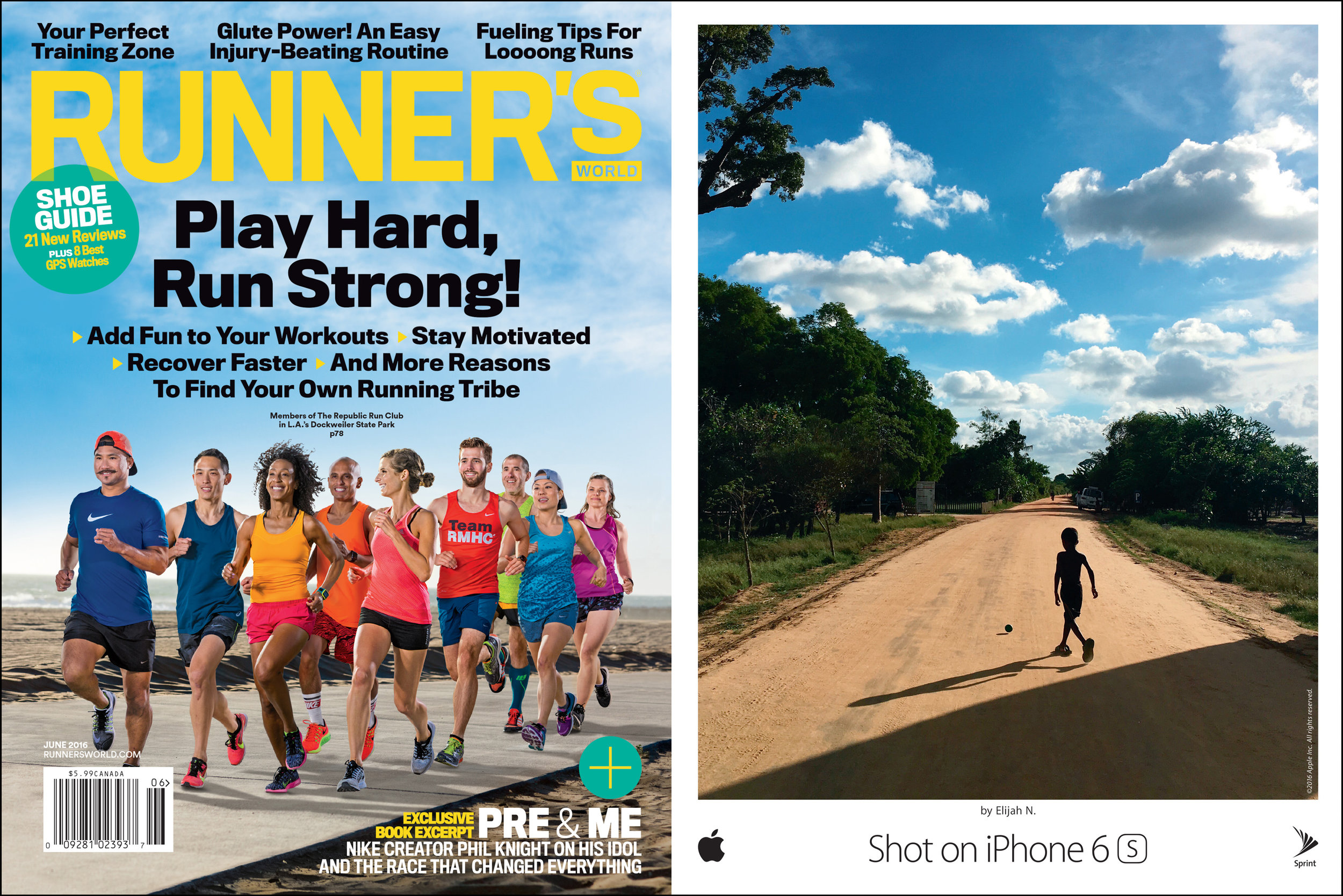 Apple 'Shot on iPhone 6s' OOH campaign, Runner's World, June 2016