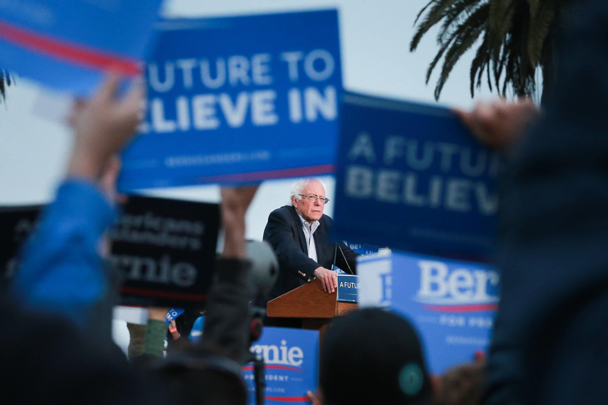 U.S. Sen. Bernie Sanders is seen at a campaign stop in San Francisco, California