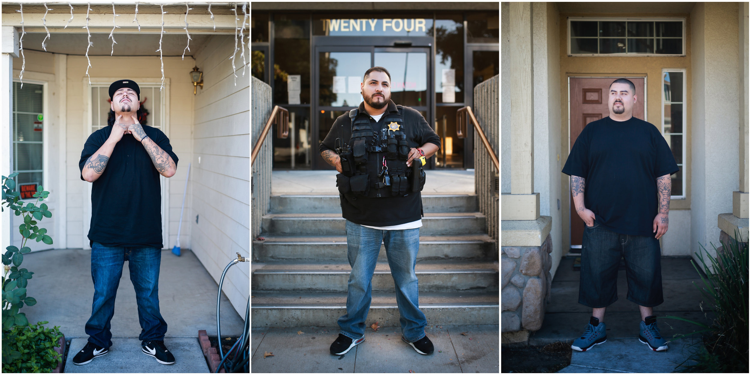 Chris Flores, Joaquin County Probation Officer Miguel Avila, and Nicco Cisneros for Buzzfeed News