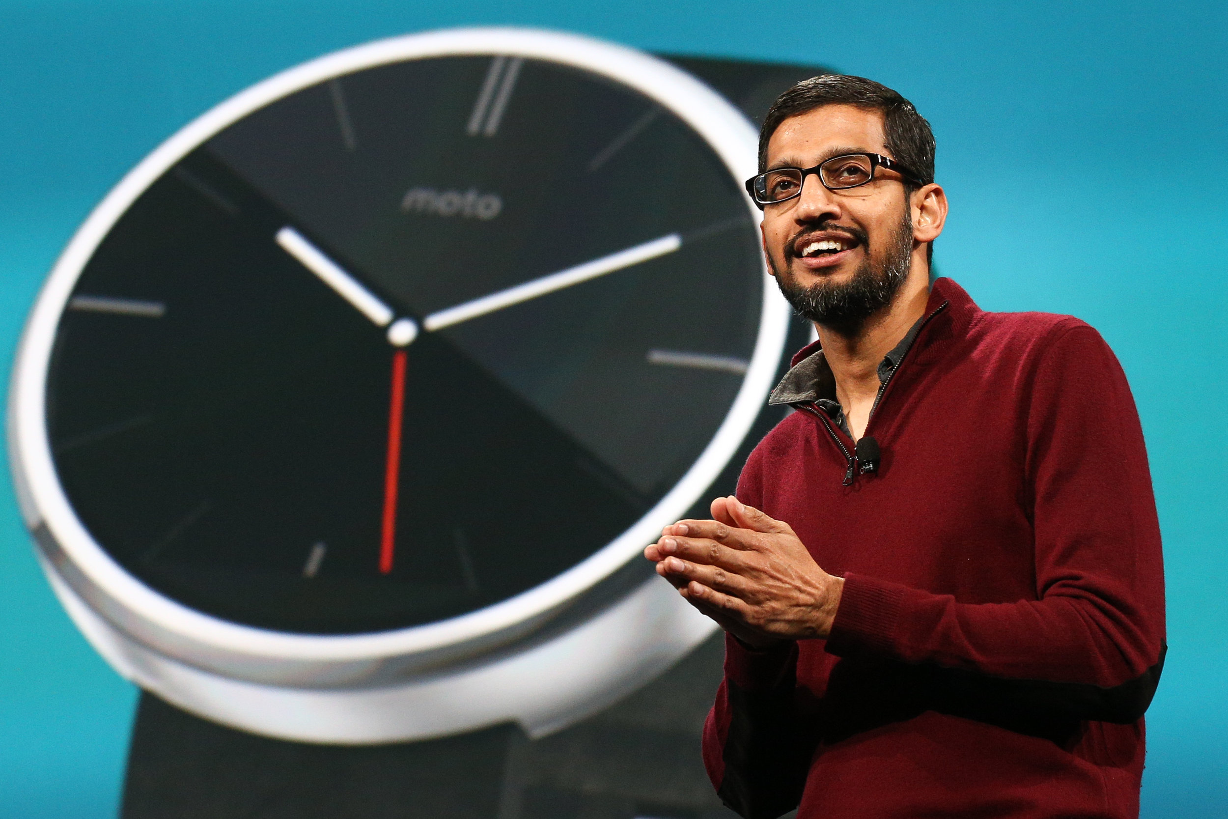 Sundar Pichai, Chief Executive Officer of Google Inc., speaks during the keynote at the Google I/O developers conference in San Francisco, California