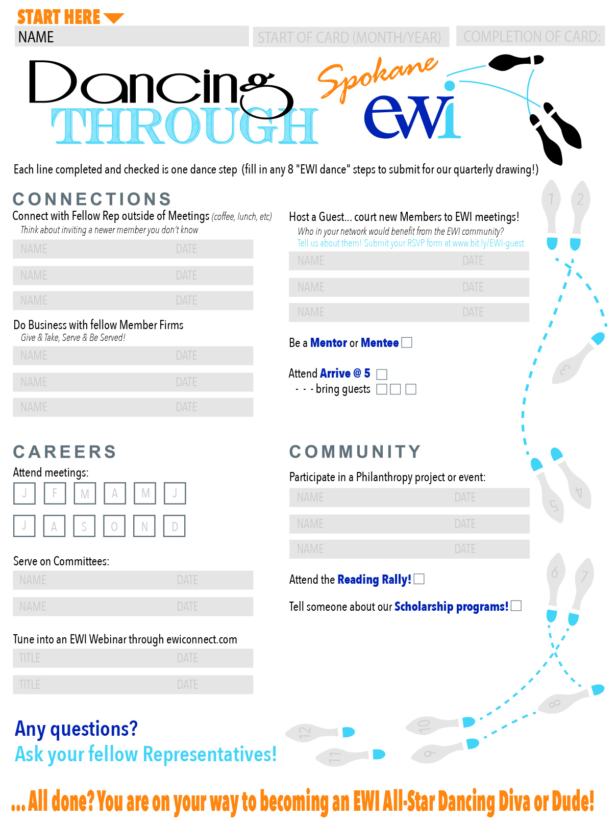 EWI Dance Card - This Dance Card is designed to help members connect with one another and get more involved with EWI.