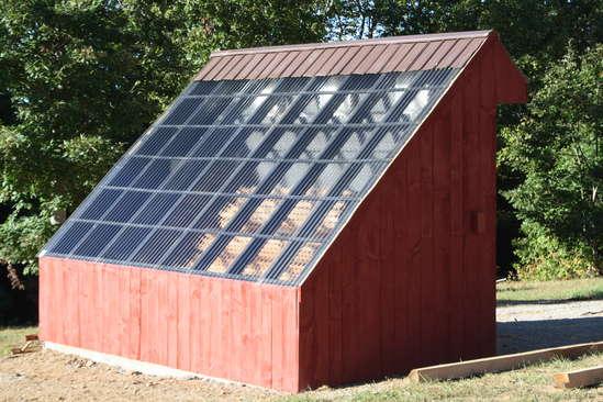 Solar kiln drying.