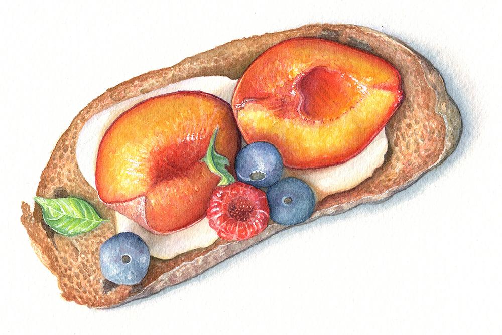 Watercolour Food Illustration by Katherine Appleby: Caramelised Peach Brushcetta