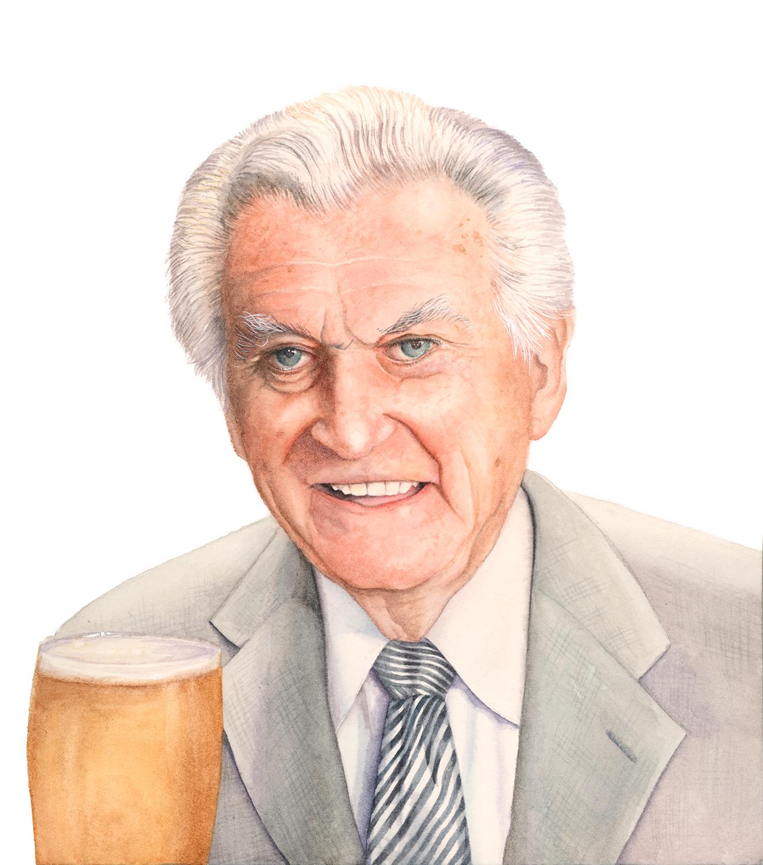 Watercolour Portrait of Bob Hawke