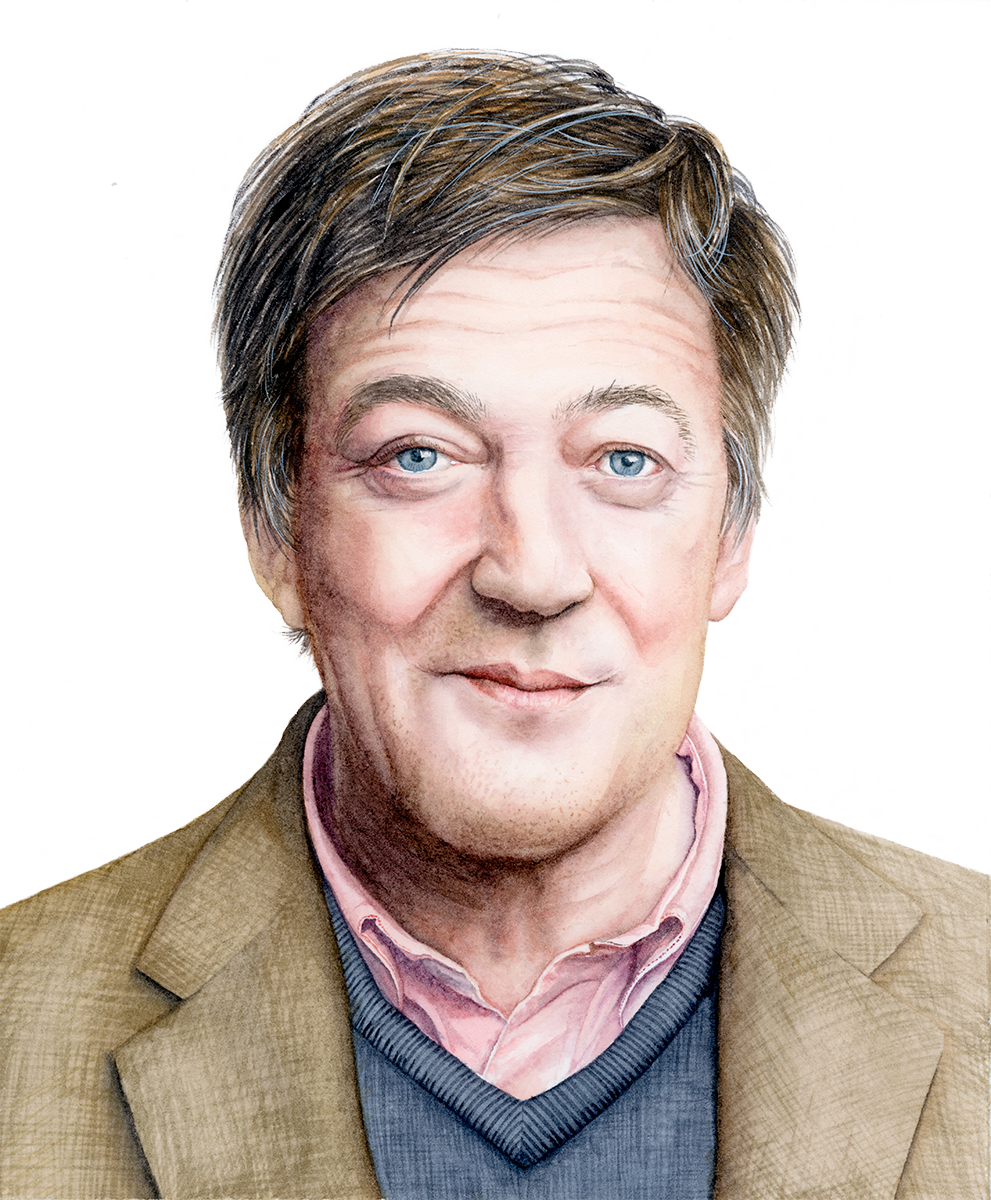 Watercolour Portrait of Stephen Fry