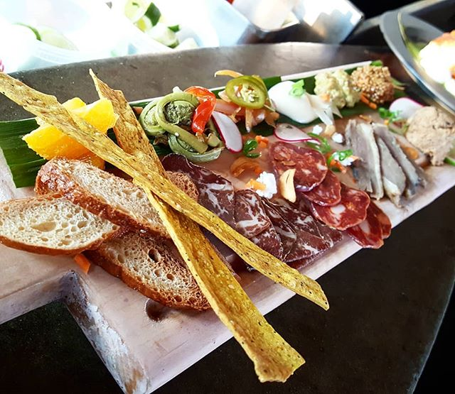 Charcuterie baord on the Parrilla - An assortment of meats served with crostini  changes daily  #havanamaine #havanaparrilla #havanabarharbor #mainetapas #charcuterieboard #charcuterie #wagyubresola #rabbitrillette #smokedduckbreast #napolitana