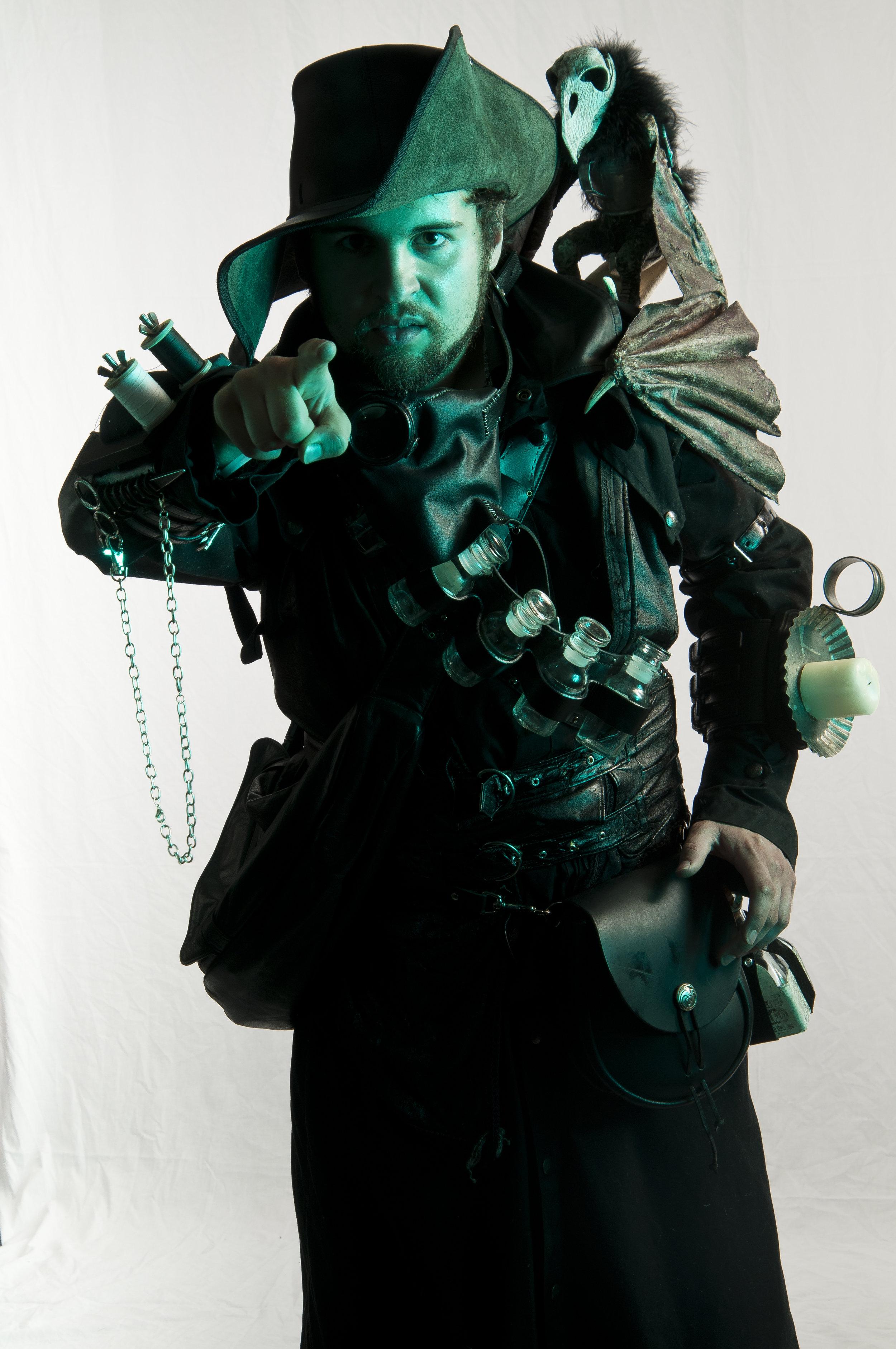 Yorick, the Zombie Familiar, and steampunk Necromancer costume
