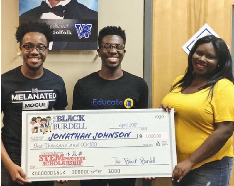 (Johnson and Hunter pictured with the recipient of the 2017 STEMtrepreneur Scholarship, Jon Johnson. Courtesy: The Black Burdell)