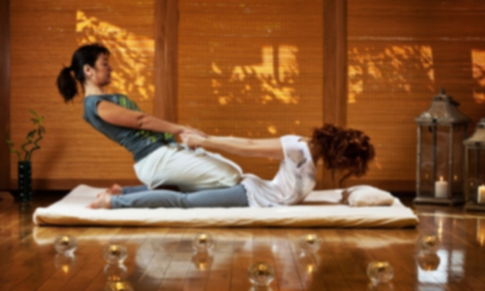 Thai Yoga Massage: - Traditional Thai massage rarely uses oils or lotions, and the recipient remains clothed during a treatment. There is constant body contact between the practitioner and client, but rather than rubbing on muscles, the body is compressed, pulled, stretched and rocked in order to clear energy blockages and relieve tension. The practitioner uses thumbs, palms, forearms, elbows, knees and feet to create a dance of movement on the body of the recipient. In this process, joints are opened, muscles and tendons are stretched, internal organs are toned, and energy is balanced. The overall effect is one of deep relaxation, rejuvenation, and physical and mental well being.