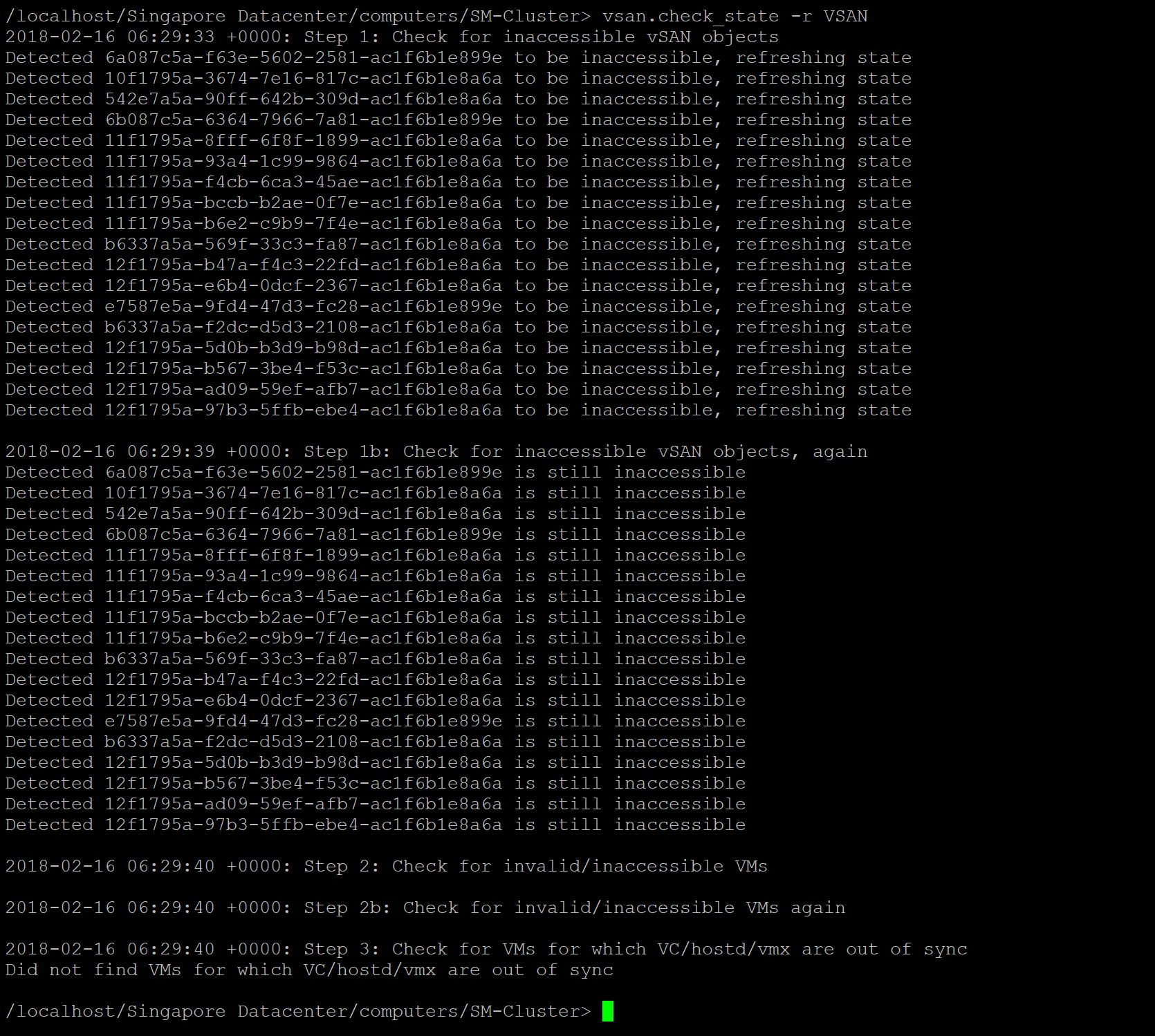 List inaccessible objects in the cluster