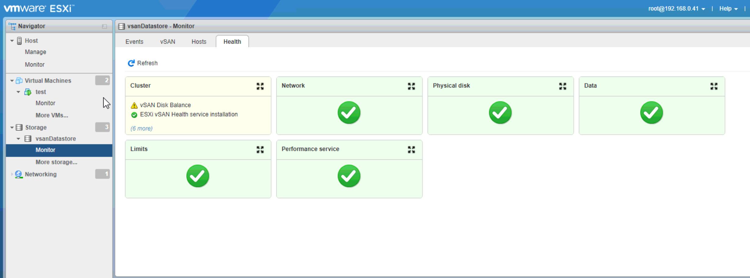 Figure 1 : vSphere Host Client - vSAN Health Check