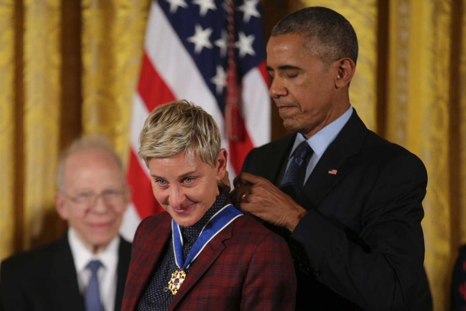 Ellen is so emotional here as Barak Obama honours her with The Medal of Freedom - wow!