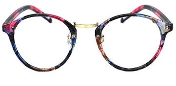 Slocyclub Fashion Round Eyewear Frame Eyeglasses Optical Frame Clear Lens Glasses